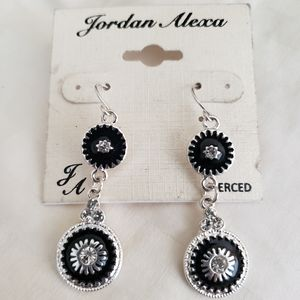 Dangle Black and Silver earrings with clear stone